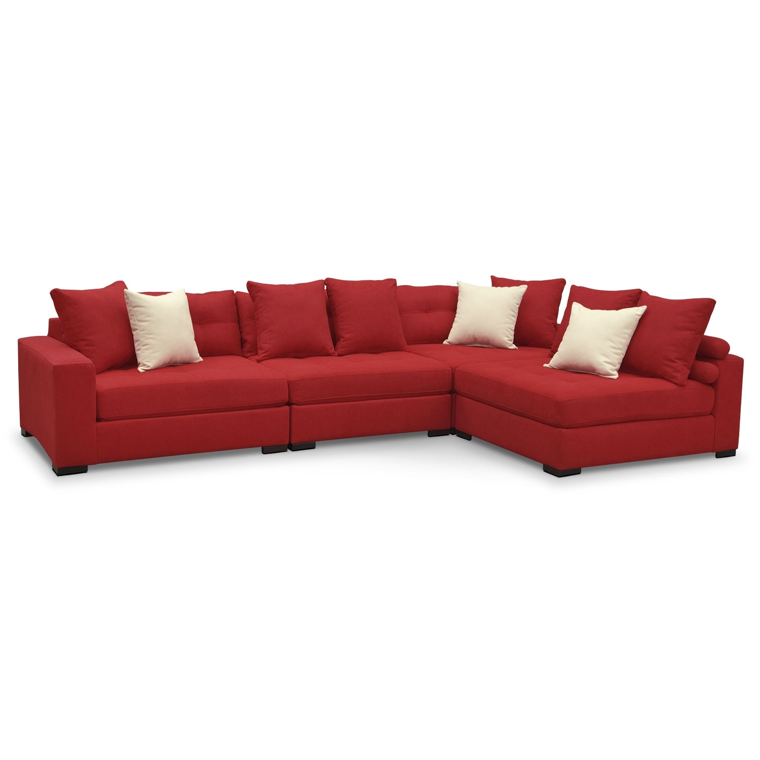 Living Room Furniture - Venti 4-Piece Sectional - Red