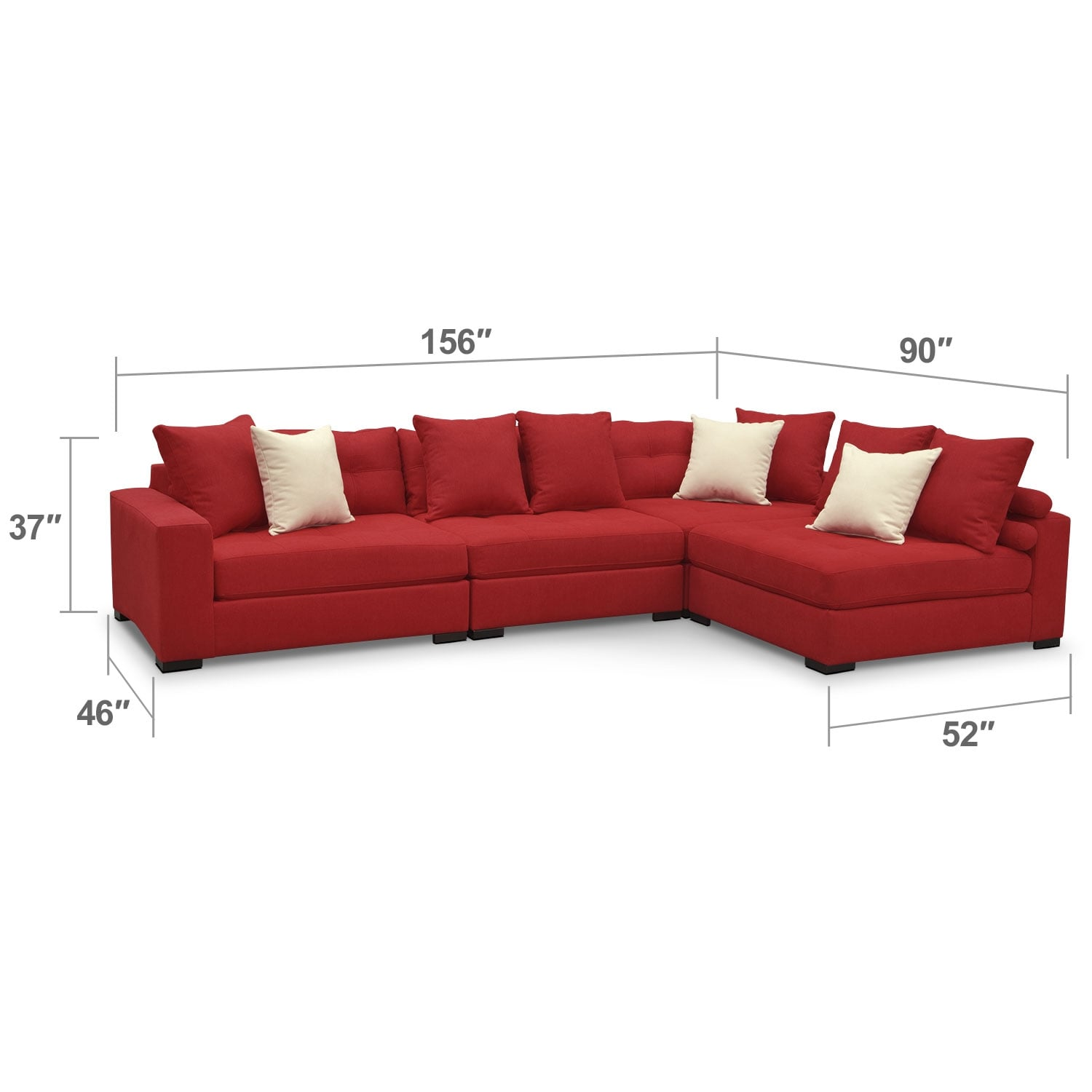 Living Room Furniture - Venti Red 4 Pc. Sectional
