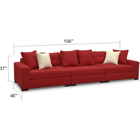 Living Room Furniture - Venti 3-Piece Sectional - Red