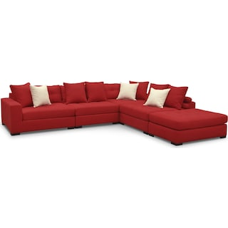 Venti 5-Piece Sectional with Cocktail Ottoman - Red