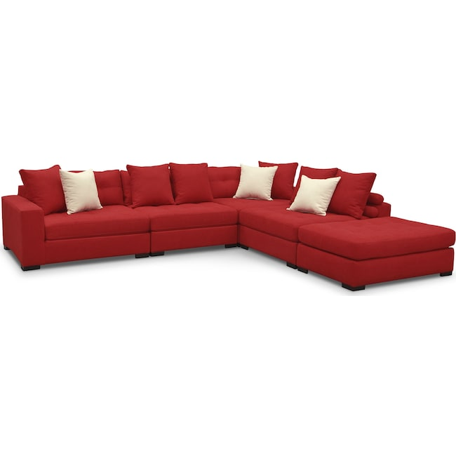 Living Room Furniture - Venti 5-Piece Sectional with Cocktail Ottoman - Red