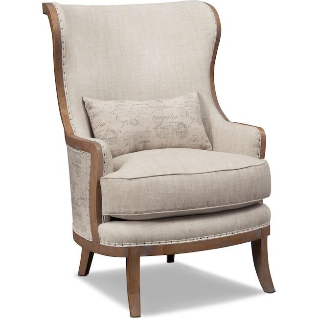 Living Room Furniture - Madeline Framed Accent Chair - Beige