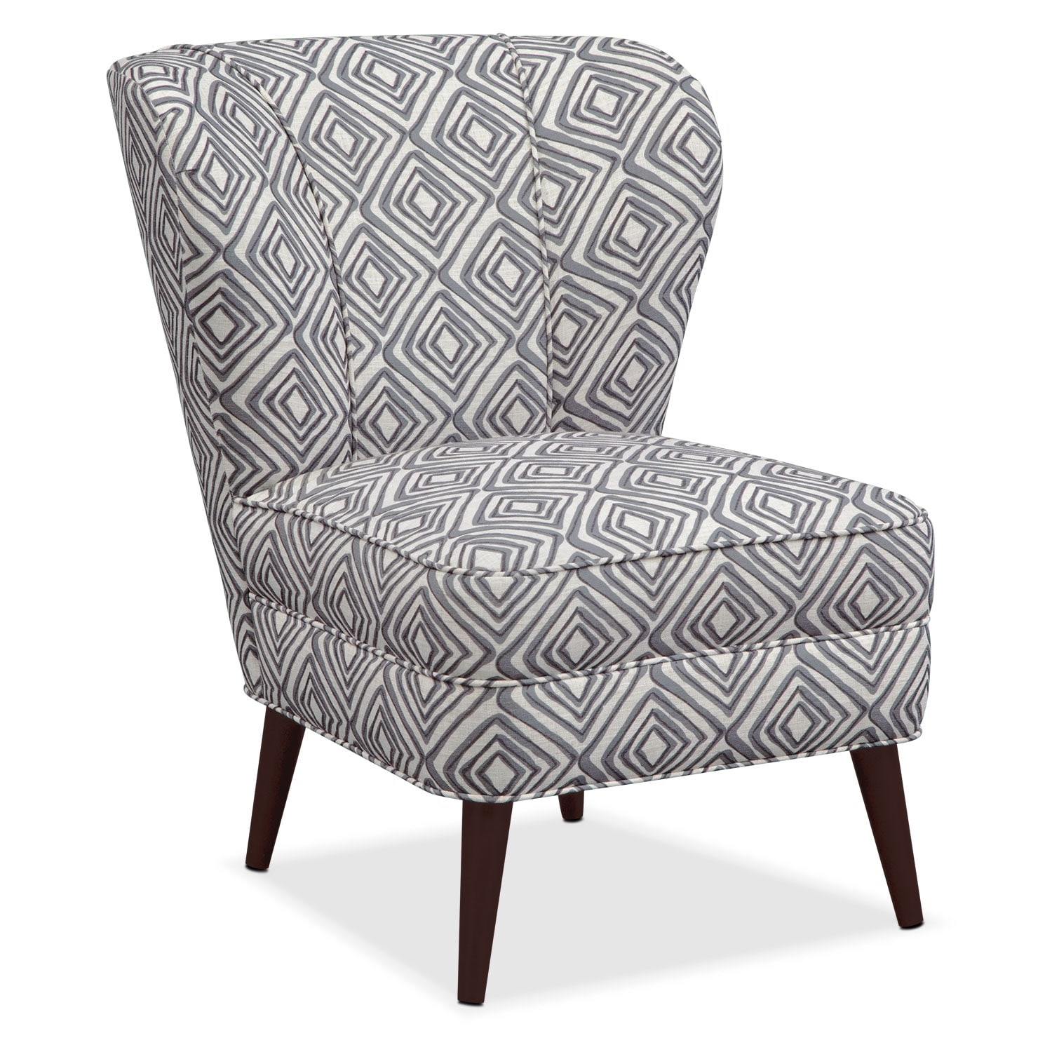 Living Room Furniture - Jules Accent Chair - Gray Print