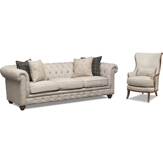 Madeline Sofa and Framed Accent Chair Set - Beige