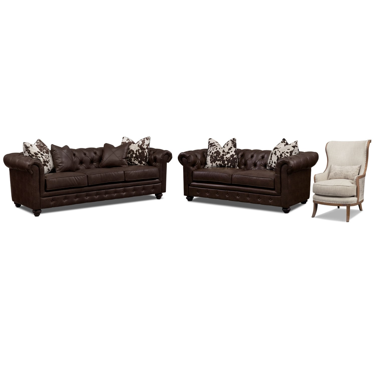 Living Room Furniture - Madeline Sofa, Apartment Sofa and Accent Chair Set - Chocolate