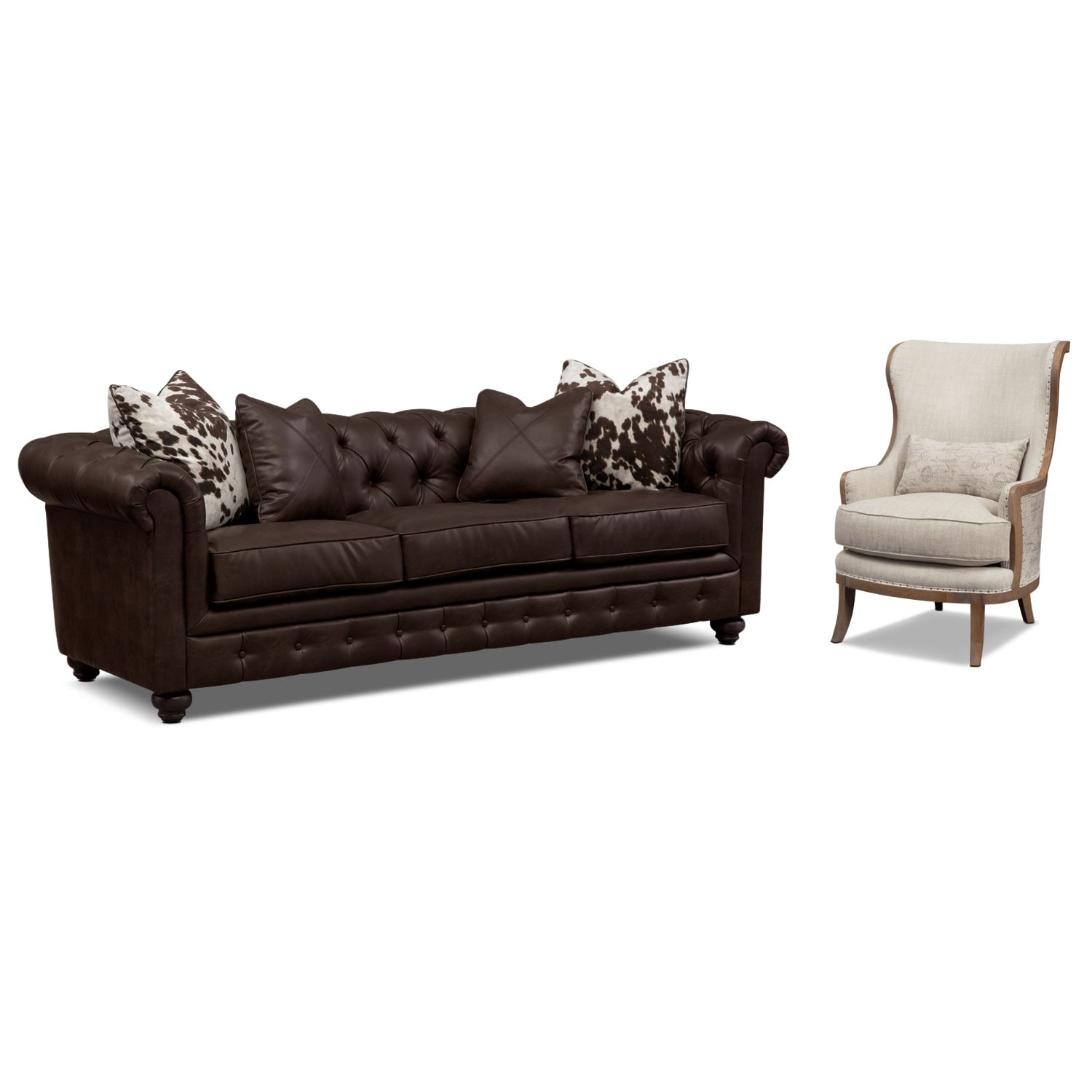 Living Room Furniture - Madeline Sofa and Accent Chair Set - Chocolate