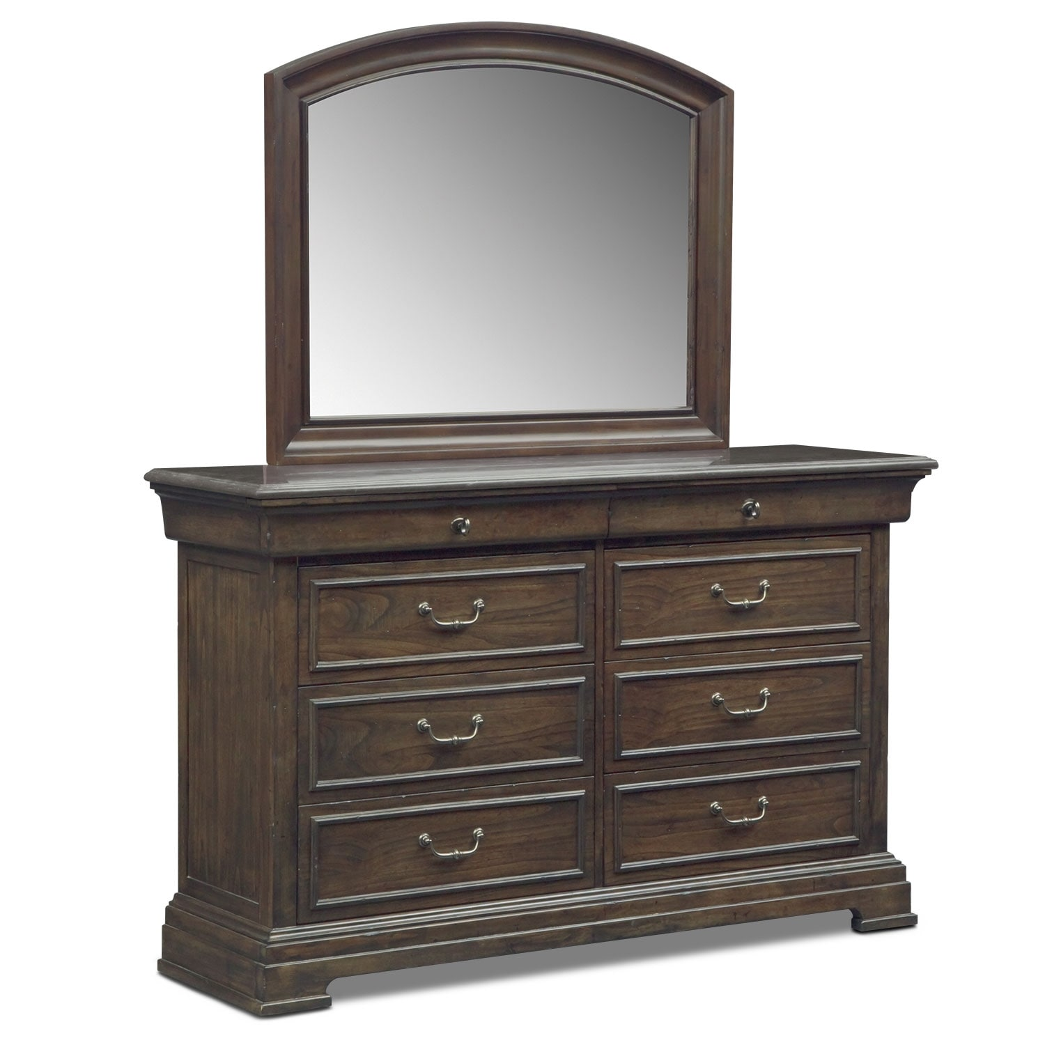 Bedroom Furniture - Collinwood Dresser and Mirror - Brown
