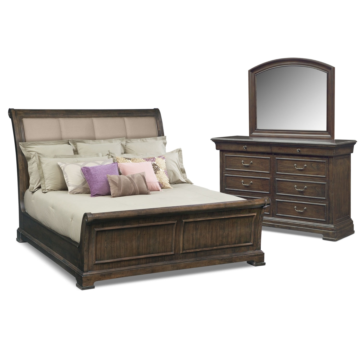 Bedroom Furniture - Collinwood 5-Piece King Bedroom Set - Brown