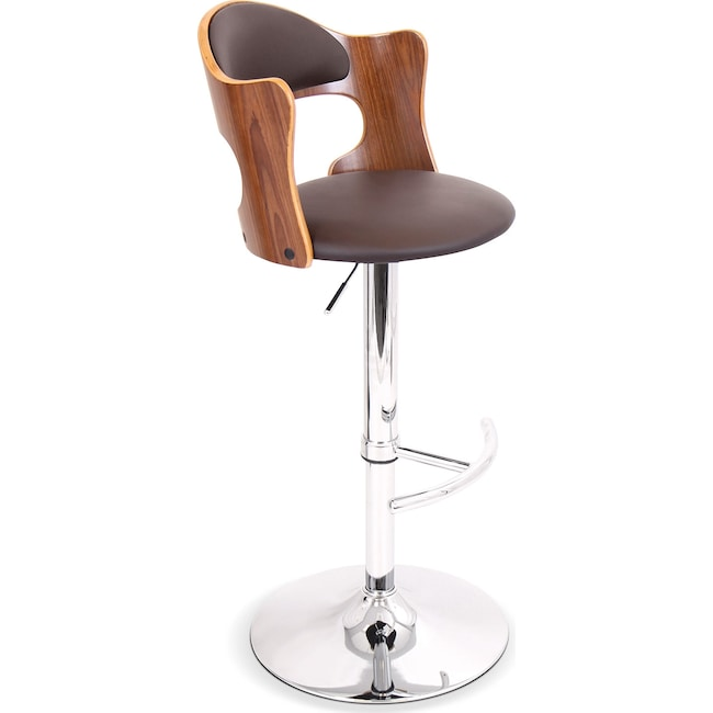 Accent and Occasional Furniture - Ciao Adjustable Barstool - Walnut
