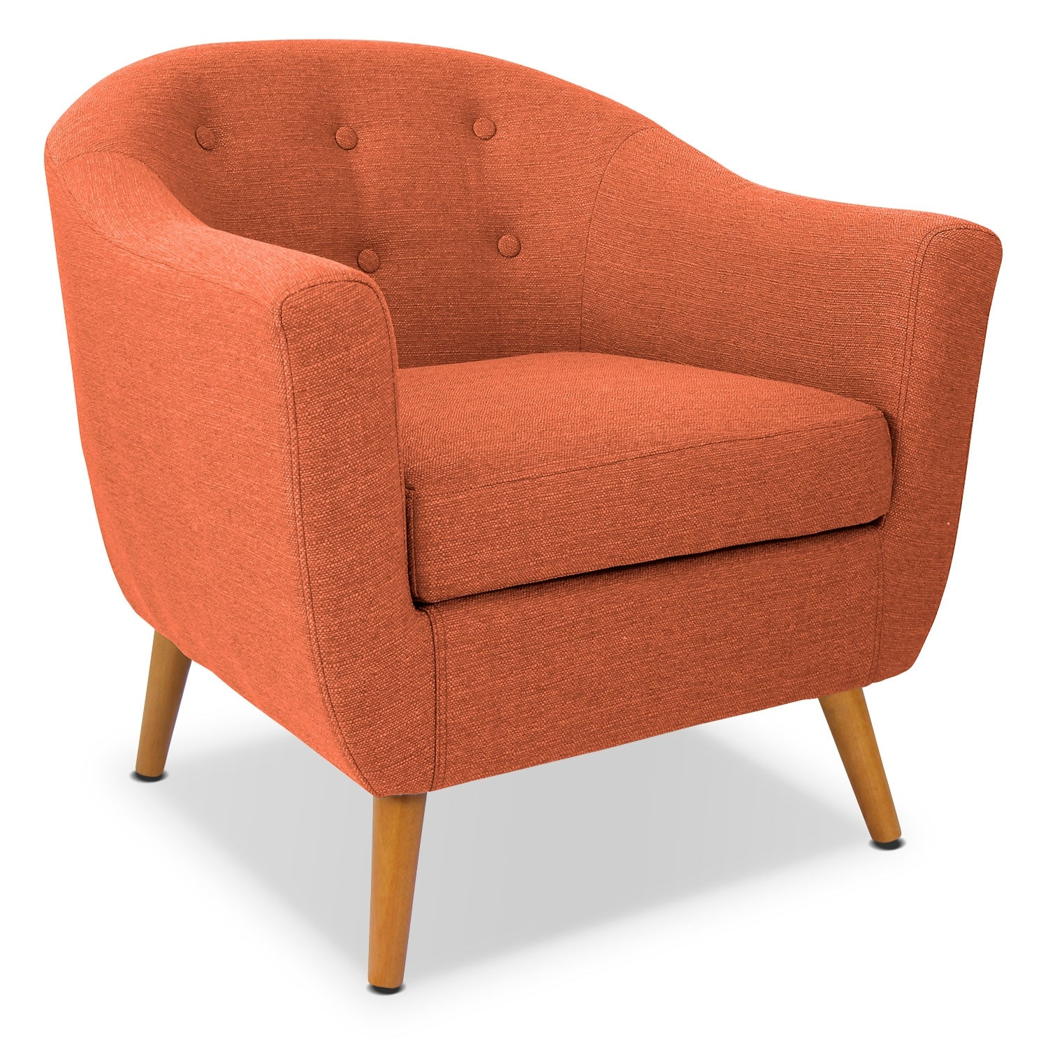 norman accent chair orange chairs living room