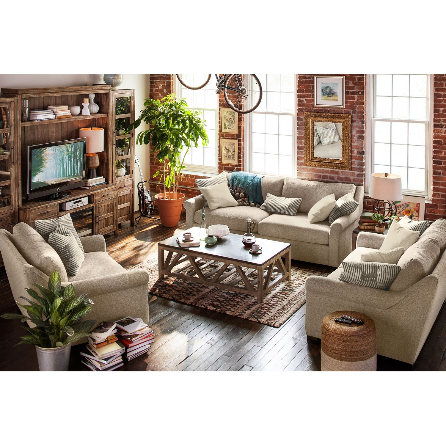 Roberston cumulus sofa loveseat and chair and a half set for Living room packages