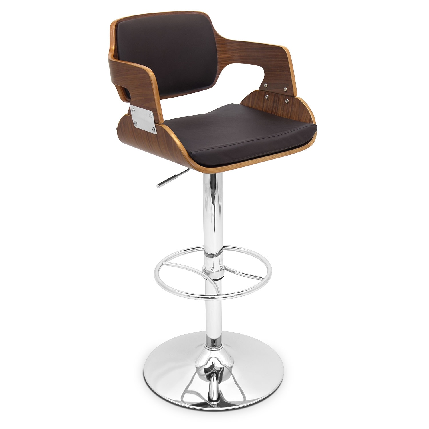 Accent and Occasional Furniture - Bari Adjustable Bar Stool - Walnut