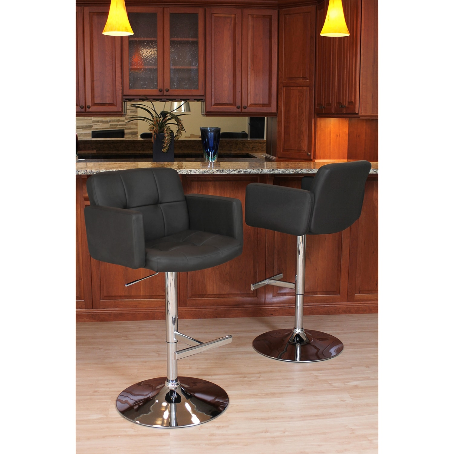 Porter Adjustable Barstool Black Value City Furniture
