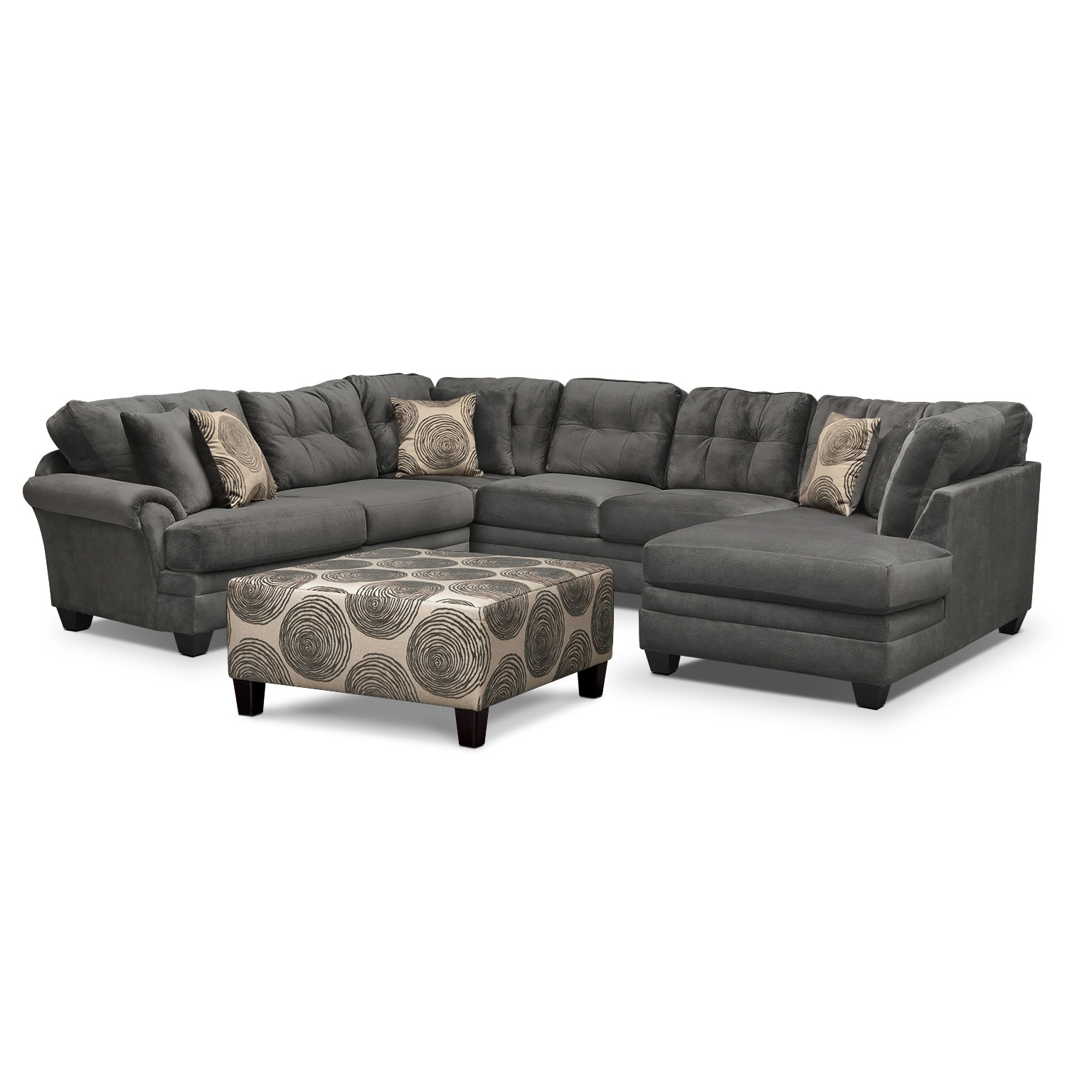 living room furniture packages value city furniture cordelle 3 piece sectional and cocktail ottoman set gray