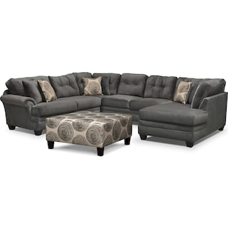 Cordelle 3-Piece Sectional and Cocktail Ottoman Set - Gray