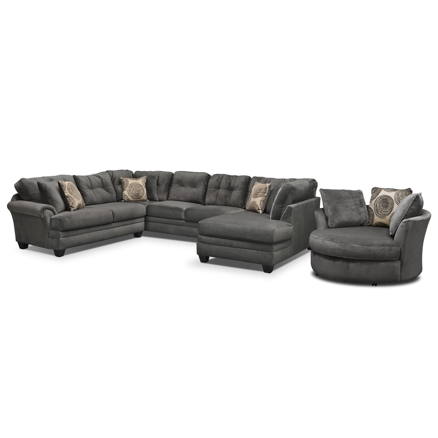 Cordelle 3 Piece Sectional With Chaise And Swivel Chair Set