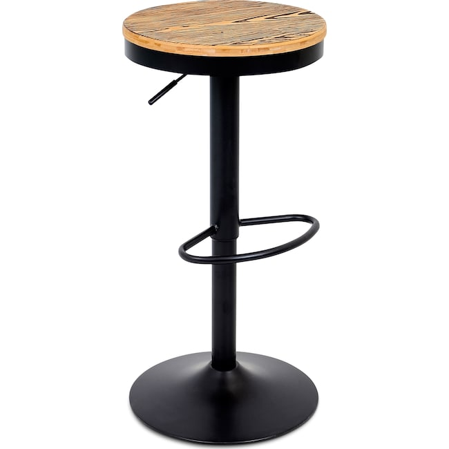 Accent and Occasional Furniture - Rustic Adjustable Barstool - Black