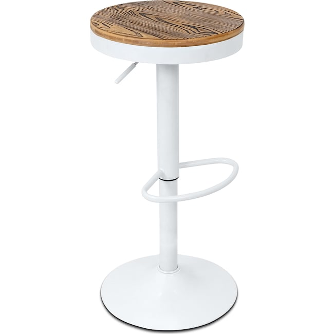 Accent and Occasional Furniture - Rustic Adjustable Barstool - White