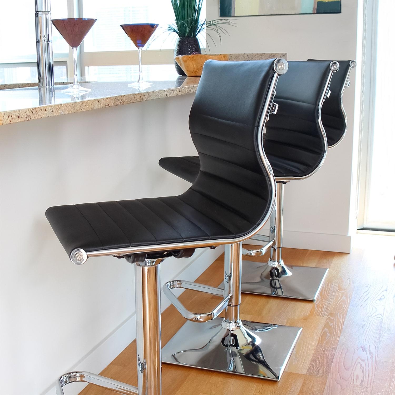 Pierce Adjustable Barstool Black Value City Furniture