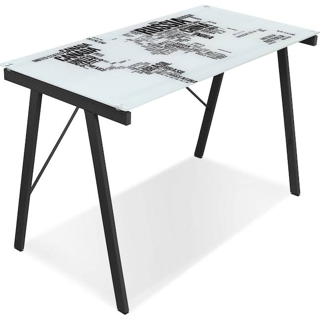 Home Office Furniture - Continent Desk - Black on White Glass