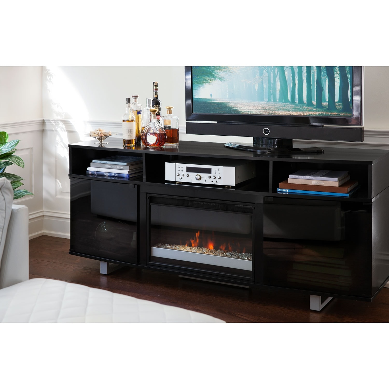 pacer  contemporary fireplace tv stand  black  value city  - click to change image