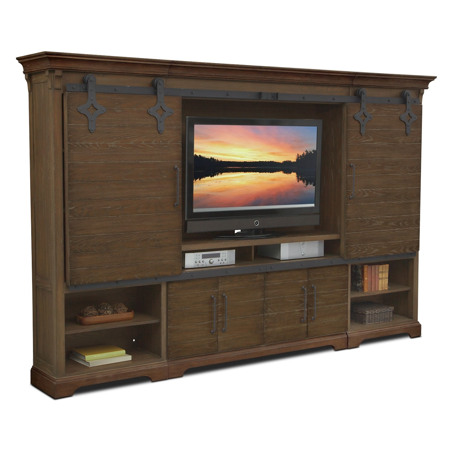 union city entertainment wall unit  brown. t v stands  media centers  value city furniture and mattresses