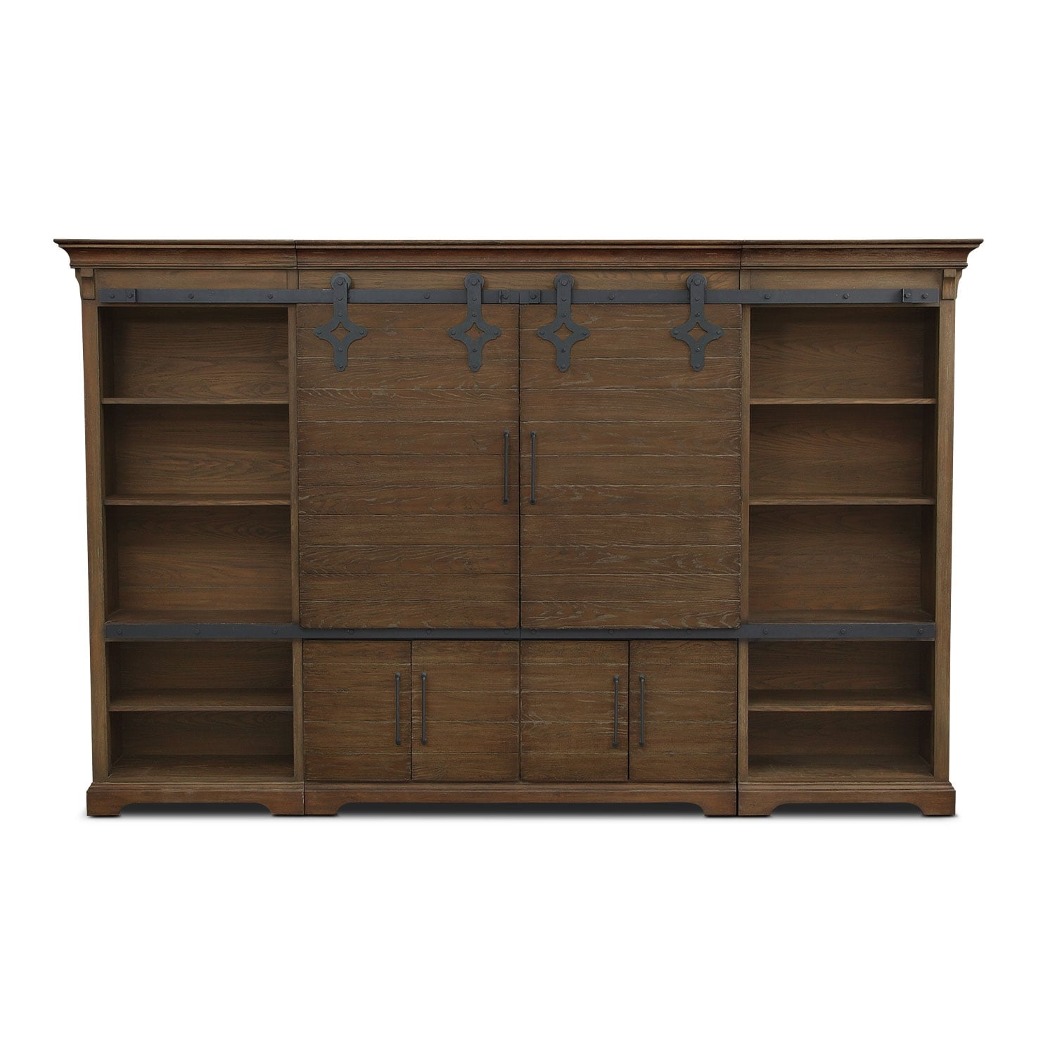 Union City Entertainment Wall Unit Brown Value City Furniture And Mattresses