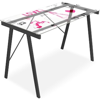 Eiffel Desk - Pink and Black on Glass