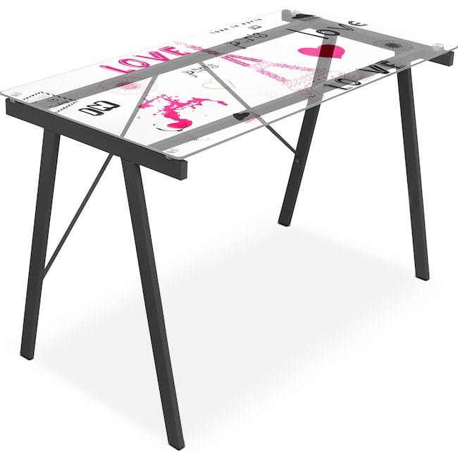Home Office Furniture - Eiffel Desk - Pink and Black on Glass