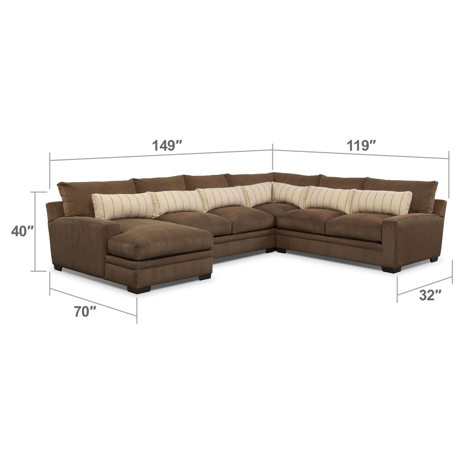 Living Room Furniture - Ventura 4-Piece Sectional with Left-Facing Chaise - Brown