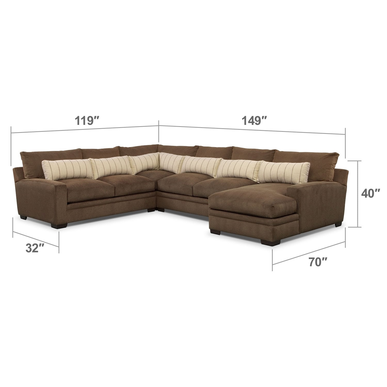 Living Room Furniture - Ventura 4-Piece Sectional with Right-Facing Chaise - Brown