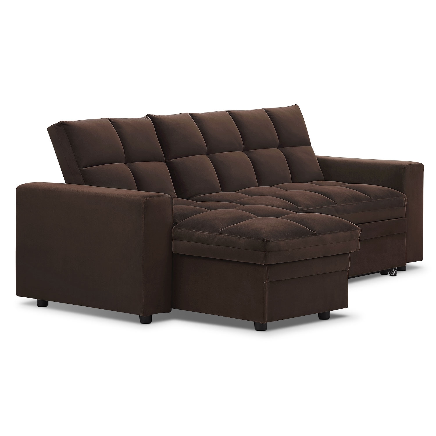 Elegant Metro Chaise Sofa Bed With Storage   Brown