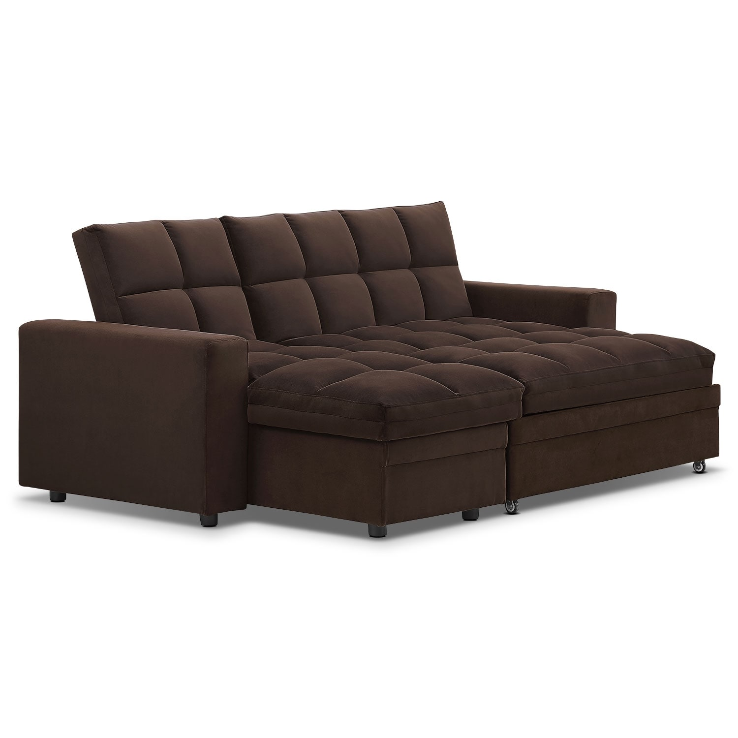 Metro Chaise Sofa Bed with Storage Brown