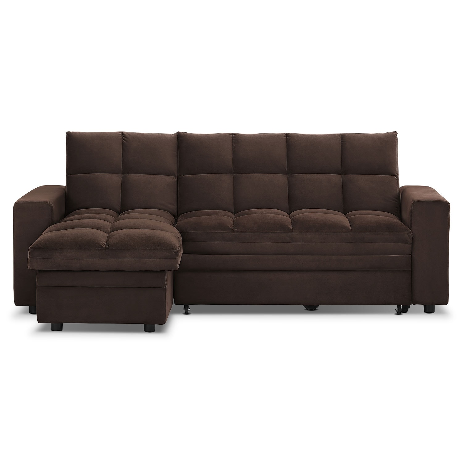 Metro 2 pc chaise sofa bed w storage value city furniture for Sofa bed outlet
