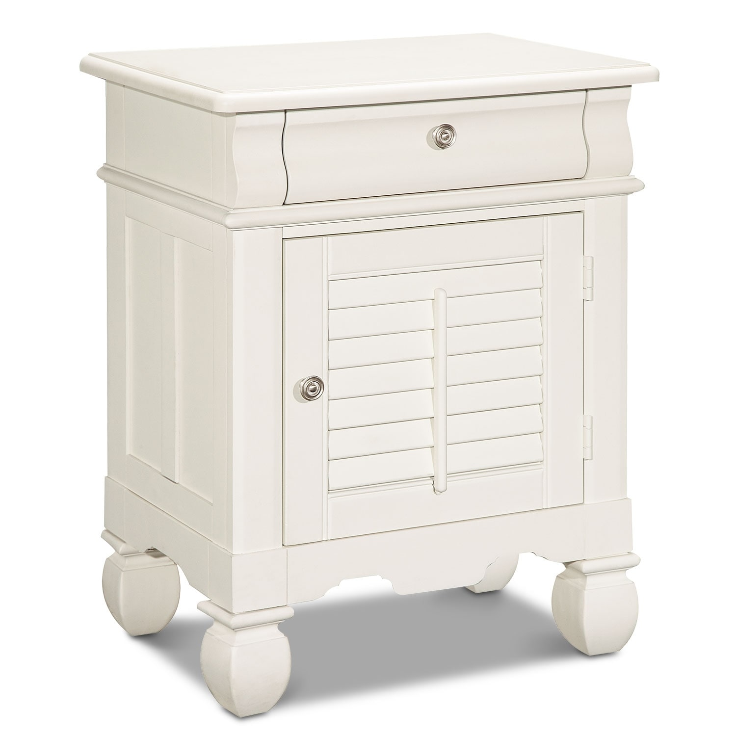 [Plantation Cove White Door Nightstand]