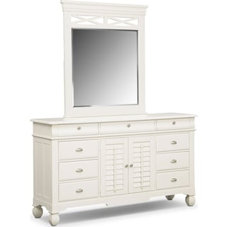 Plantation Cove Dresser and Mirror - White
