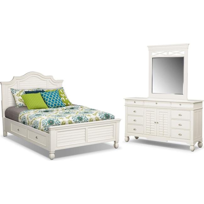 Bedroom Furniture - Plantation Cove 5-Piece Queen Storage Bedroom Set - White