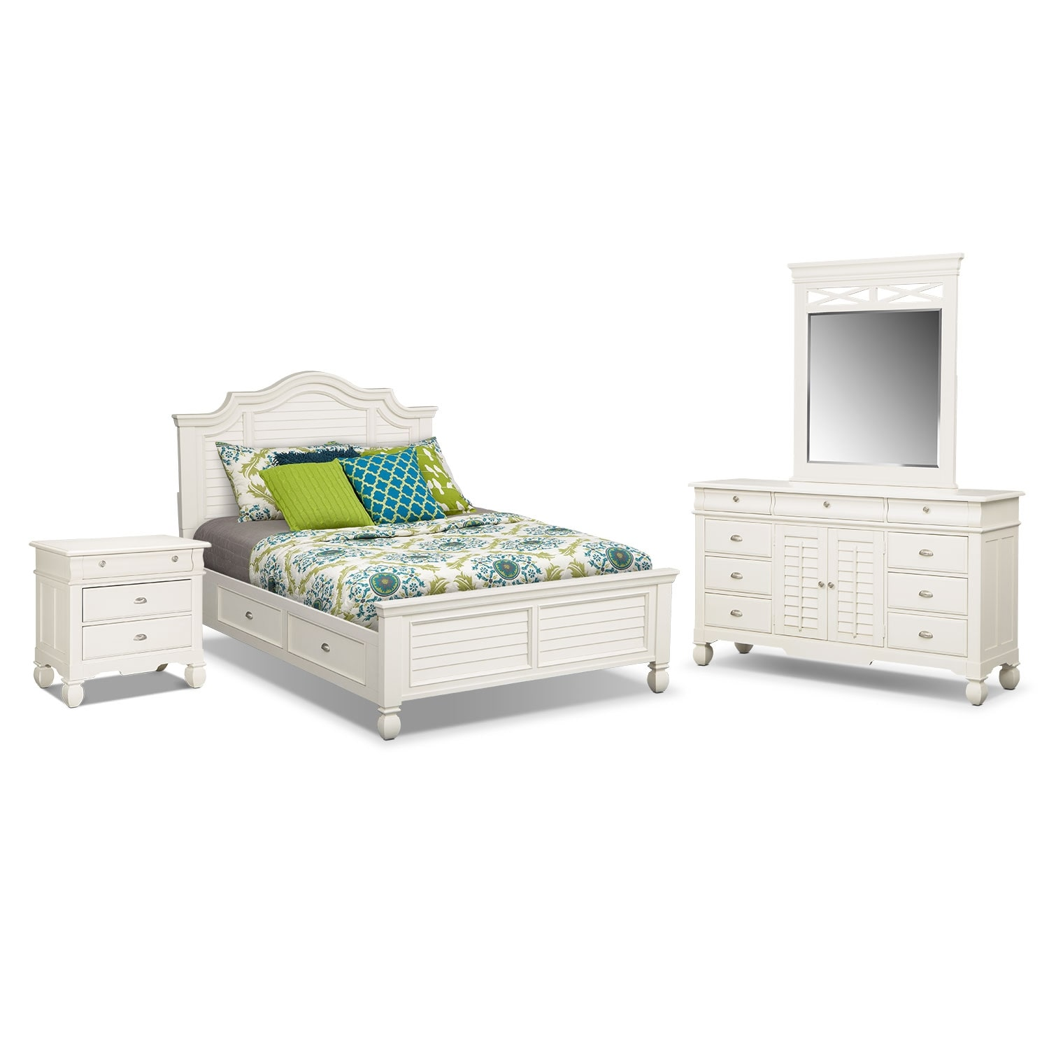 Bedroom Furniture - Plantation Cove 6-Piece Queen Storage Bedroom Set - White