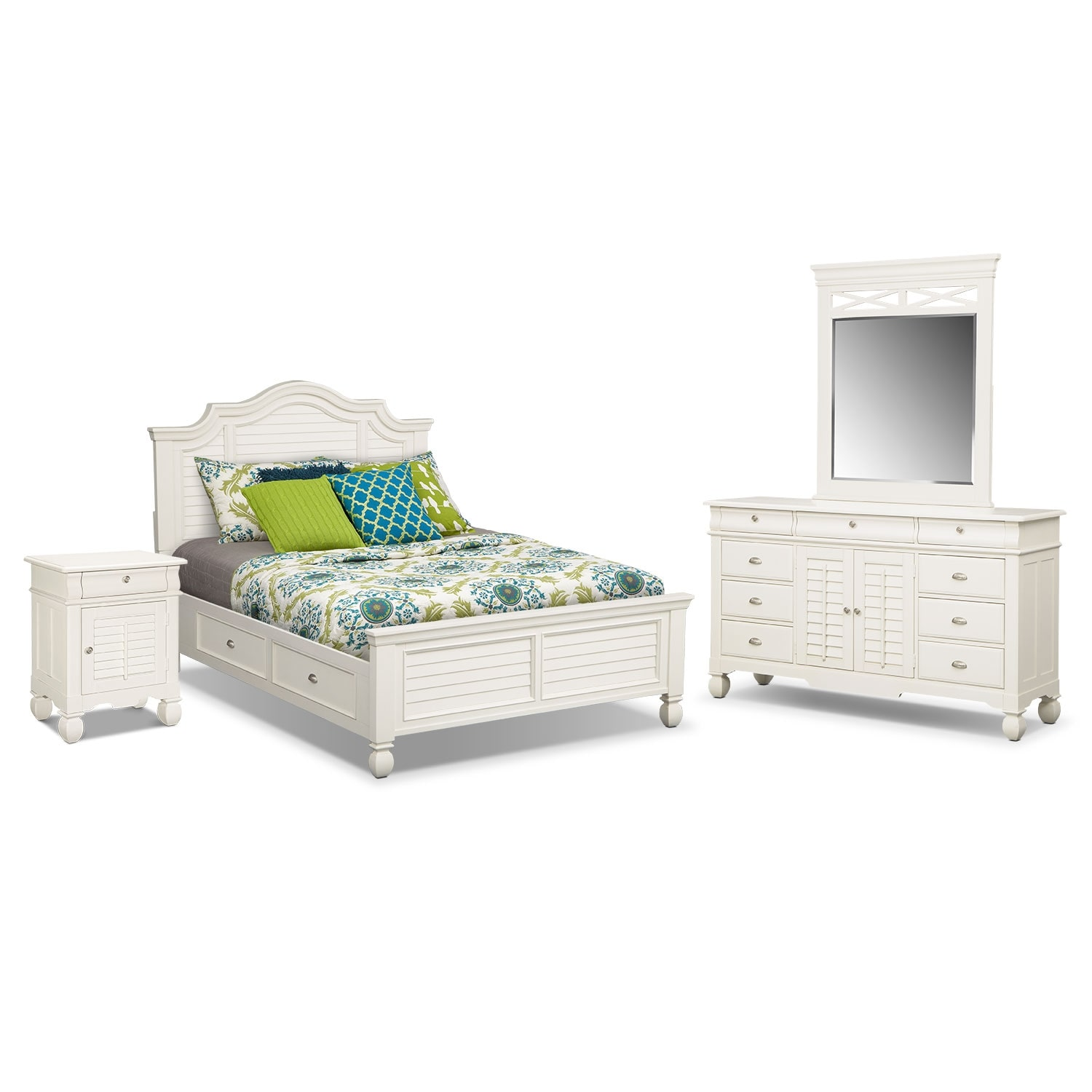 Plantation Cove 6-Piece Queen Storage Bedroom Set with Door Nightstand - White