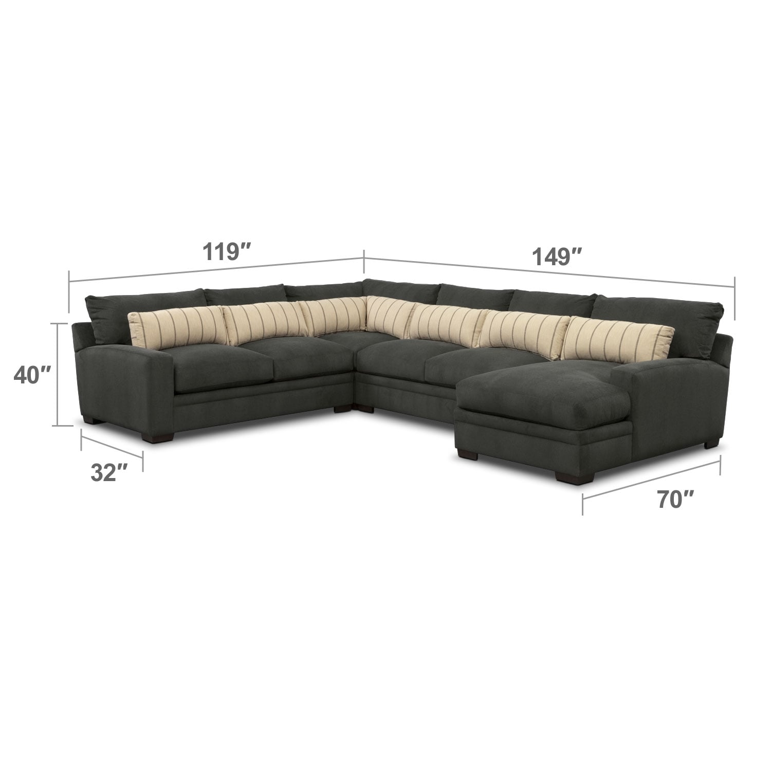 Living Room Furniture - Ventura 4-Piece Sectional with Right-Facing Chaise - Charcoal