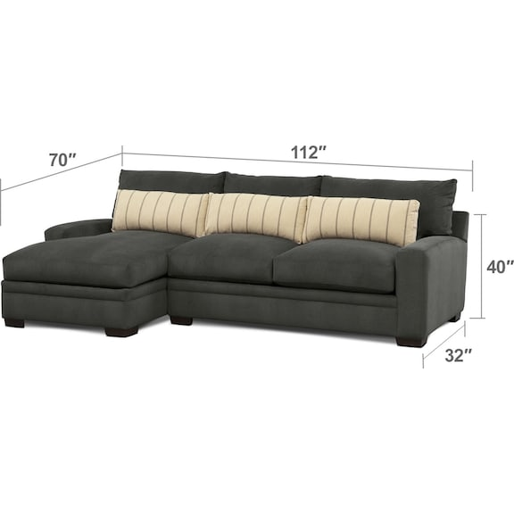 Living Room Furniture - Ventura 2-Piece Sectional with Left-Facing Chaise - Charcoal