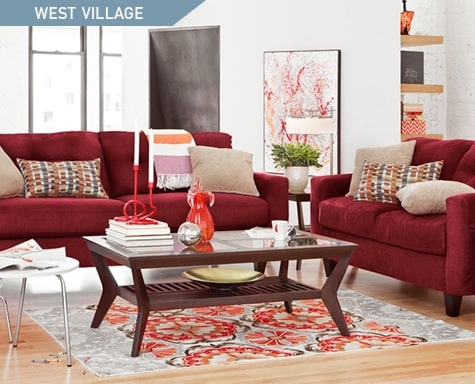 Shop the West Village Red 2 piece Living Room