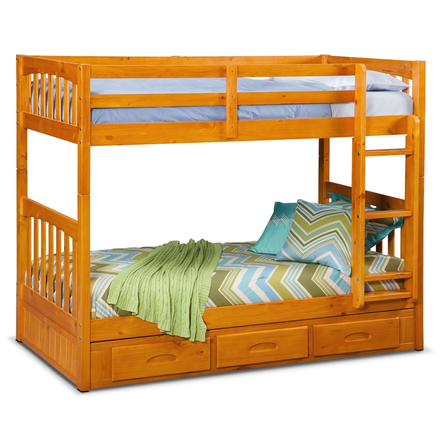 Kids Furniture - Ranger Twin over Twin Storage Bunk Bed - Pine