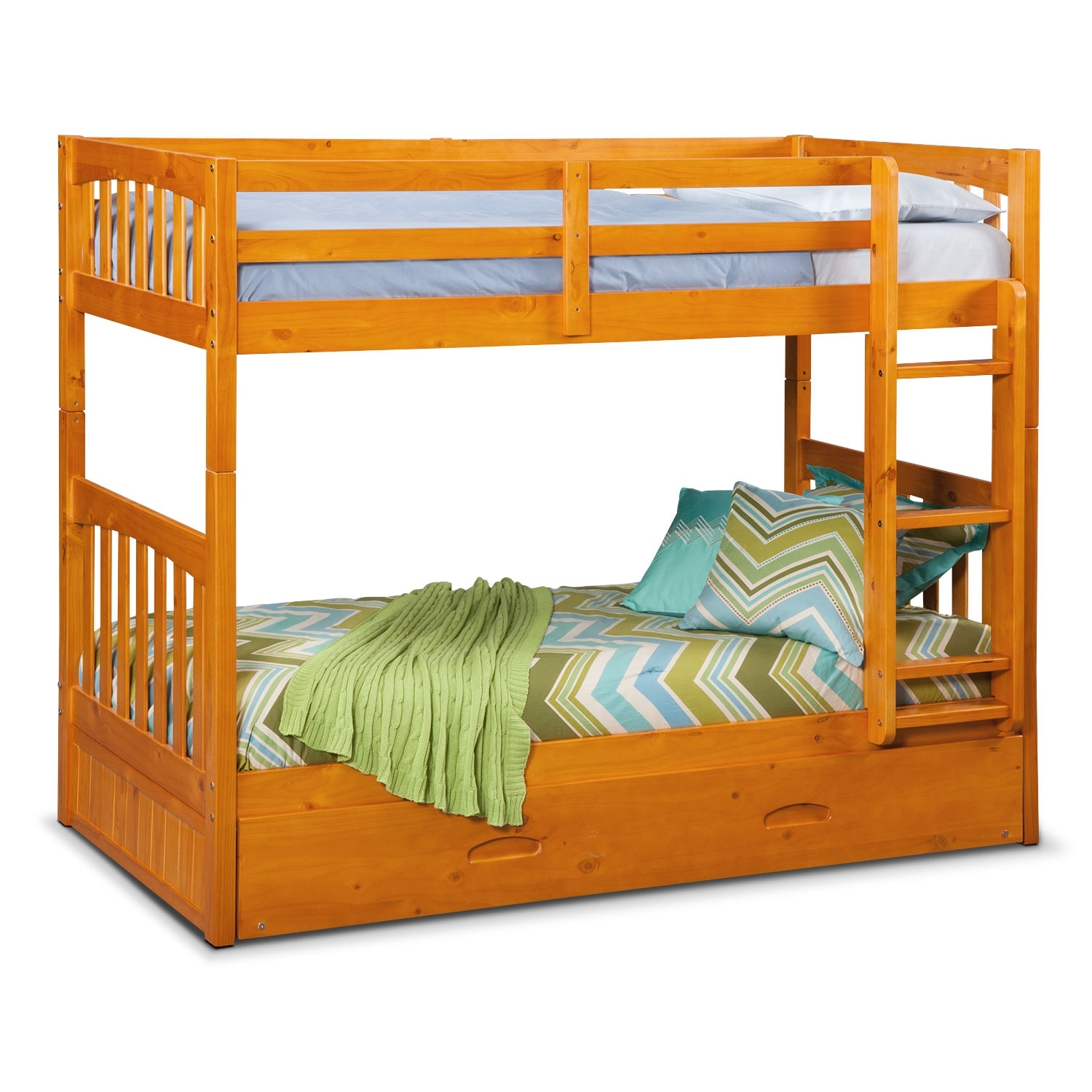 Kids Furniture Ranger Twin Over Bunk Bed With Trundle Pine