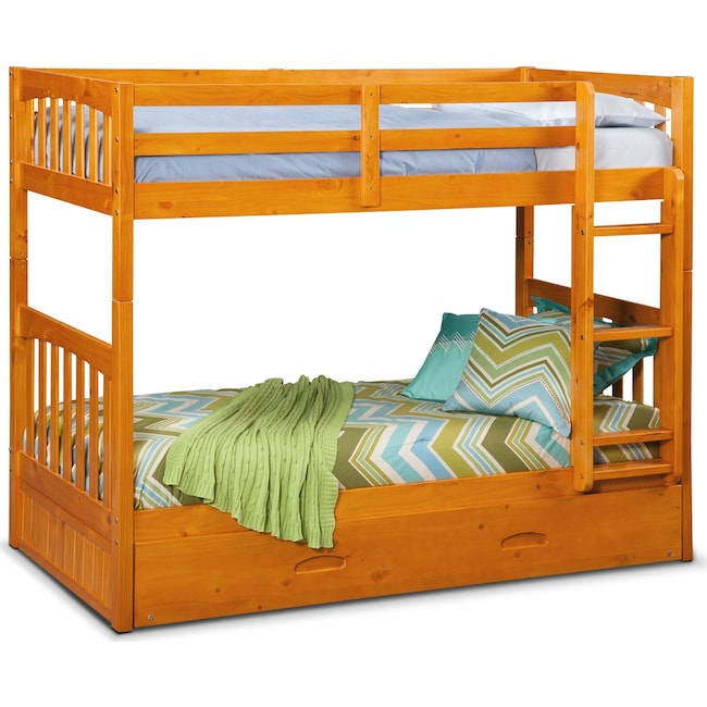 Kids Furniture - Ranger Twin over Twin Bunk Bed with Twin Trundle - Pine
