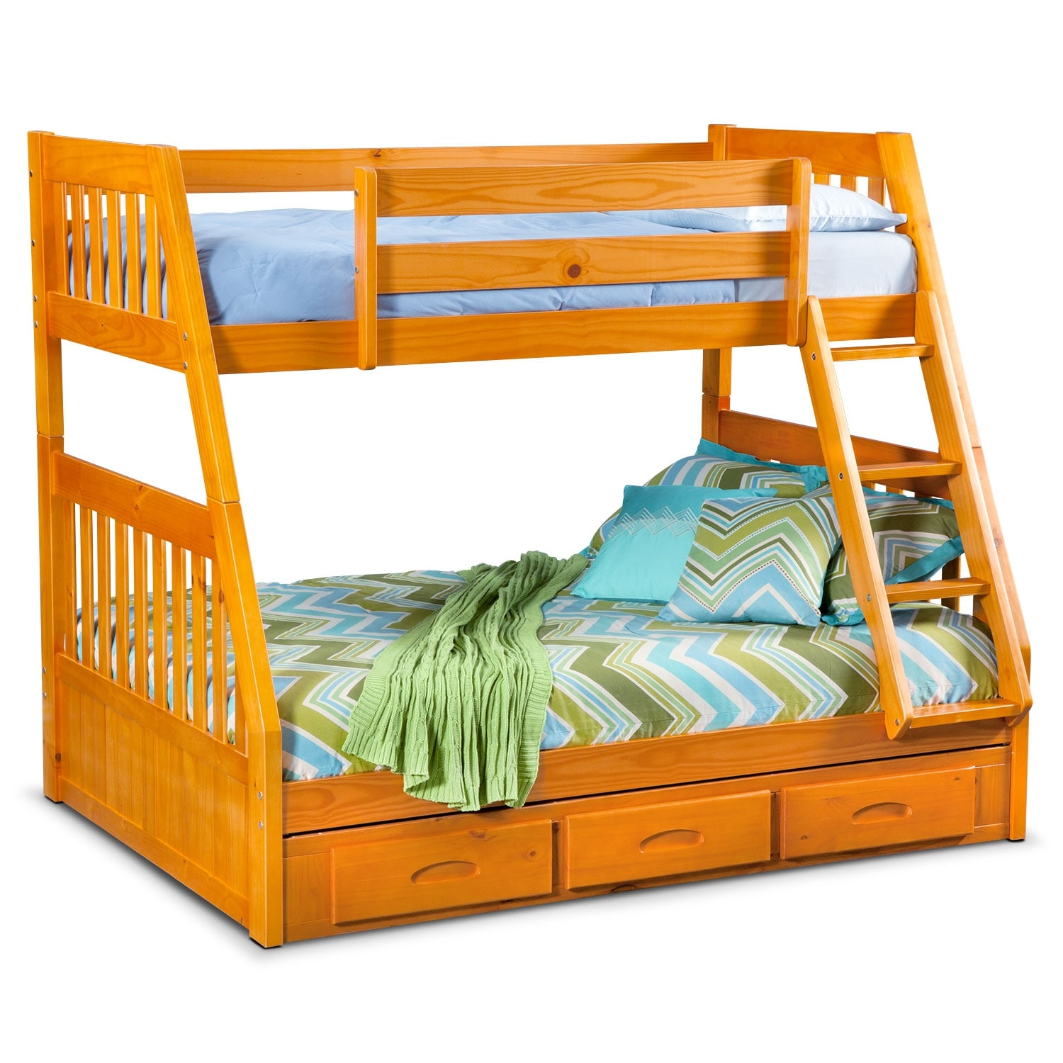 Ranger Pine Twin/Full Bunk Bed w/ Storage