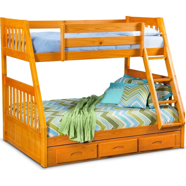 Kids Furniture - Ranger Twin over Full Storage Bunk Bed - Pine