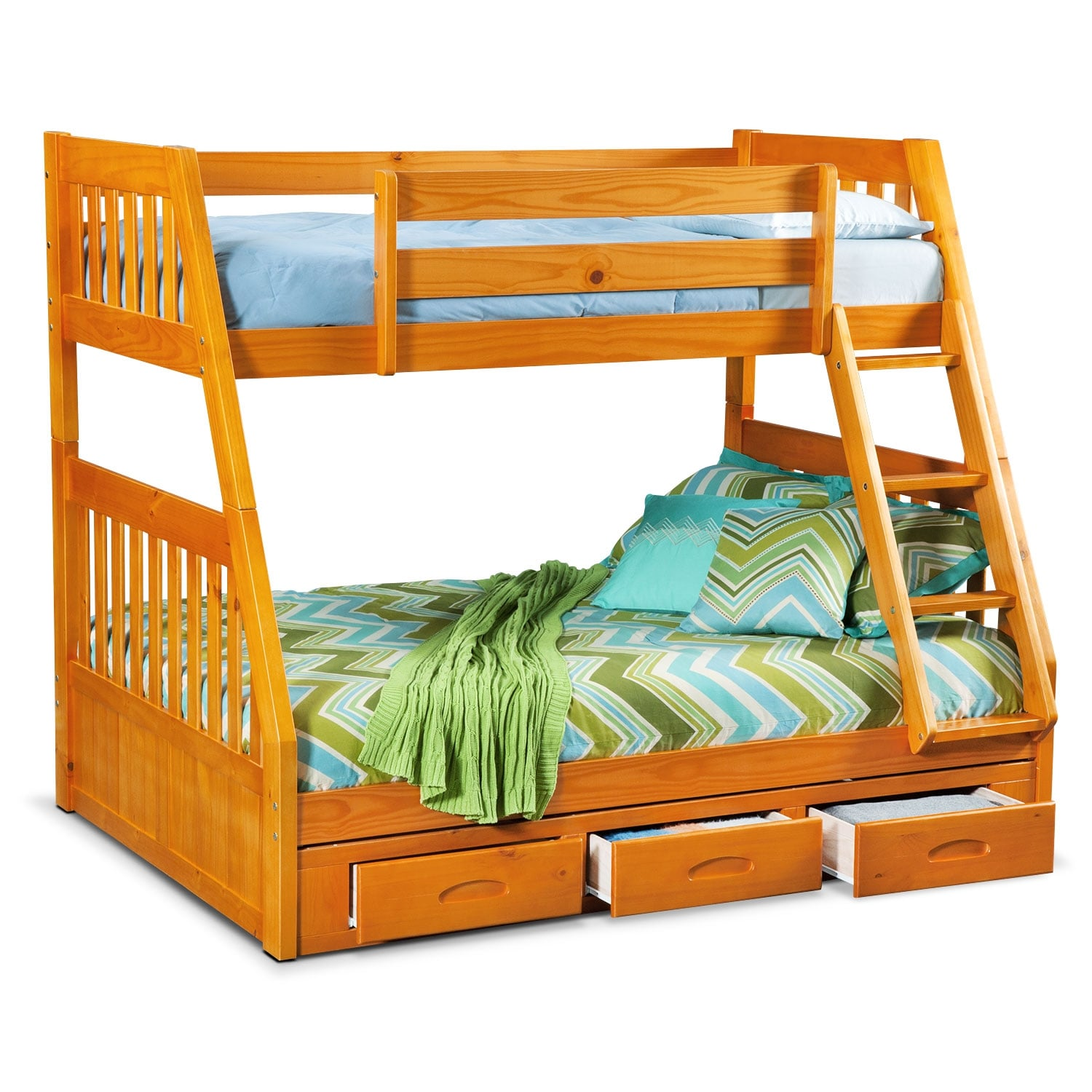 Ranger Twin Over Full Storage Bunk Bed Pine Value City