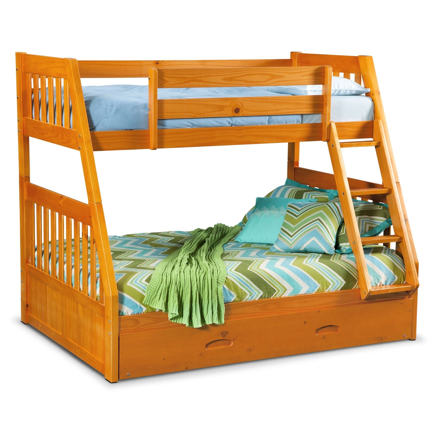 ranger twin over full bunk bed with twin trundle pine. Black Bedroom Furniture Sets. Home Design Ideas