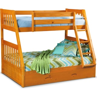 Ranger Twin over Full Bunk Bed with Trundle  - Pine